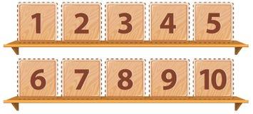 Matematiknummer på trämall stock illustrationer