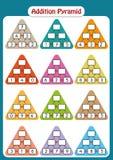 Matematikpyramider för mentala matematik övar, avslutar de saknade numren, matematikarbetssedeln för ungar Arkivbilder