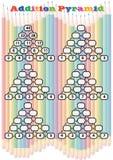 Matematikpyramider f?r mental matematik?vning, avslutar de saknade numren, matematikarbetssedeln f?r dagisstudent Bildande lek f stock illustrationer
