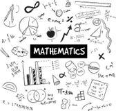 Matematikteori och klotter för matematisk formel och modell- eller graf vektor illustrationer