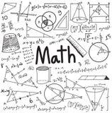 Matematikteorin och likställanden för matematisk formel klottrar handskrift Royaltyfri Foto