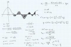 Matematiska skissade formler och grafer stock illustrationer