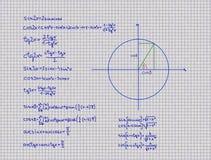 Matematiska Trigonometrylikställande Arkivbild