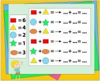 Matematycznie ?amig??wki gra Uczenie mathematics, zadania dla dodatku dla preschool dzieci Worksheet dla preschool dzieciak?w Ucz royalty ilustracja