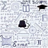Matematycznie edukacyjny wektorowy bezszwowy wzór z geometrii postaciami, fabuły, równania, słowa szkoła Z powrotem Obrazy Royalty Free