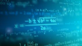 Matematycznie formuły unosi się w perspektywie Abstrakcjonistyczny tło z matematyk równaniami Wektorowa ilustracja 3d symbol ilustracji