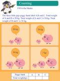 Matematycznie kalkulacyjny kilogramowy prosiątko bank ilustracja wektor