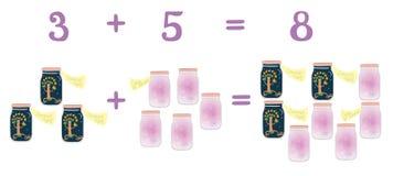 Matematycznie przykłady w dodatku do zabawa szklanymi słojami Edukacyjna gra dla dzieci Lato noc i perfumowania lato Obrazy Stock