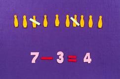 Matematycznie równanie dla preschool Obrazy Stock