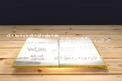 Matematycznie równanie pławik up na białej książki i koloru żółtego pokrywie royalty ilustracja