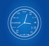 Matematycznie równanie zegar Obrazy Stock