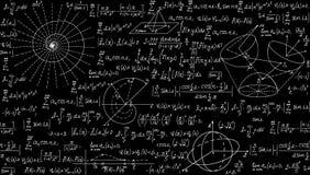 Matematycznie wektorowy bezszwowy wzór z fabułami, formułami i obliczeniami geometrical, Niekończący się tekstura Zdjęcia Stock