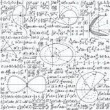 Matematycznie wektorowy bezszwowy wzór z formułami, fabułami i równaniami, Zdjęcie Royalty Free