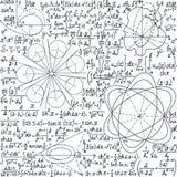 Matematycznie wektorowy bezszwowy wzór z formułami, fabułami i równaniami, Zdjęcia Stock