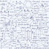 Matematycznie wektorowy bezszwowy wzór z geometrical postaciami fabuły i równania ręcznie pisany na siatki copybook papierze, royalty ilustracja