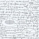 Matematycznie wektorowy bezszwowy wzór z geometrical postaciami fabuły i równania ręcznie pisany na siatki copybook papierze, Zdjęcia Royalty Free