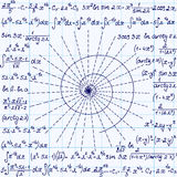 Matematycznie wektorowy bezszwowy wzór z geometrical spiralą, obliczeniami i równaniami ręcznie pisany na siatki copybook papierz Zdjęcia Stock