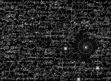 Matematycznie wektorowy bezszwowy wzór z matematycznie równaniami i postaciami Obraz Stock