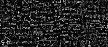 Matematycznie wektorowy bezszwowy wzór z postaciami, fabułami i obliczeniami geometrical, Obraz Stock