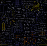 Matematycznie wektorowy bezszwowy wzór z postaciami, formułami, fabułami, geometrii zadaniami i innymi obliczeniami, Fotografia Stock
