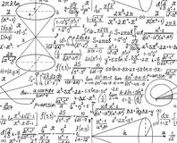 Matematycznie wektorowy bezszwowy wzór z postaciami i obliczeniami royalty ilustracja