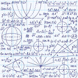 Matematycznie wektorowy bezszwowy wzór z postaciami, trygonometrii fabułami i równaniami geometrical, Zdjęcia Stock