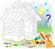 Matematycznie worksheet dla dzieci na dodatku i odejmowaniu Potrzebuje rozwiązywać przykłady i malować wizerunek w istotnych kolo Fotografia Royalty Free
