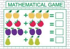 Matematycznie zadanie dla dzieci liczy, dodatek, edukacja również zwrócić corel ilustracji wektora ilustracja wektor