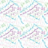 Matematyk formuły rysuje Bezszwowy Deseniowy Multicolor zdjęcia royalty free