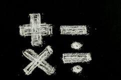 Matematyka symbole pisać na chalkboard fotografia royalty free