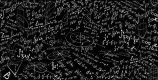 Matematyka wektorowy bezszwowy wzór z formułami i postaciami, obliczenia Niekończący się edukacyjna naukowa tekstura ilustracji