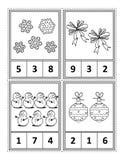 Matematyki aktywności strona dla dzieciaków - liczy, okrąża odpowiedź, kolor royalty ilustracja