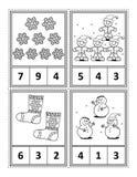 Matematyki aktywności strona dla dzieciaków - liczy, okrąża odpowiedź, kolor ilustracja wektor