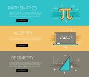 matematyki algebra geomorfologiczny Wektorowy sztandaru szablonu set Zdjęcie Stock