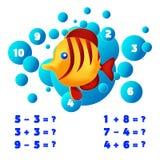 Matematyki edukacyjna gemowa Odliczająca gra dla dzieciaków temat syrenka wektoru ilustracja royalty ilustracja