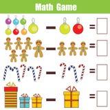 Matematyki edukacyjna gra dla dzieci, odejmowania worksheet, boże narodzenie temat royalty ilustracja