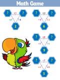 Matematyki edukacyjna gra dla dzieci Ustawiających kreskówka pirata charaktery również zwrócić corel ilustracji wektora ilustracji