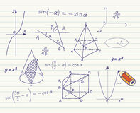 Matematyki - geometryczni kształty i wyrażenia Zdjęcia Royalty Free