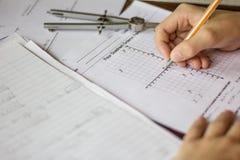 Matematyki i algebry praca domowa Obrazy Stock