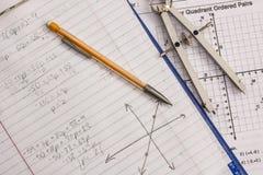 Matematyki i algebry praca domowa Zdjęcie Royalty Free