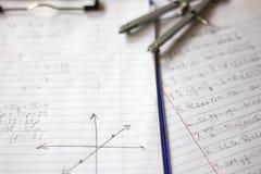 Matematyki i algebry praca domowa Zdjęcie Stock