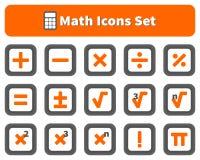 Matematyki i kalkulatora ikony ustawiać Fotografia Royalty Free