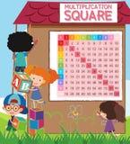 Matematyki mnożenia kwadrat z uczniami ilustracja wektor