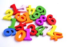 Matematyki Numerowy kolorowy na bia?ym tle: Edukacji nauki matematyka zdjęcia stock