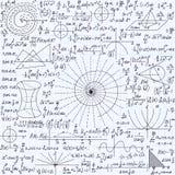 Matematyki wektorowa bezszwowa tekstura z fabułami, obliczeniami, geometrical postaciami i różnymi formułami, ilustracja wektor