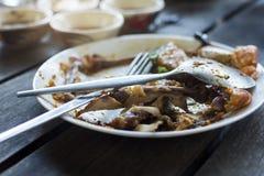 Maten som lämnas i plattan Royaltyfri Foto