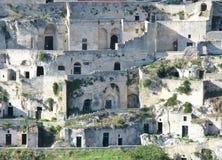 $matera με τα rupestrian σπίτια εκκλησιών ands στην Ιταλία Στοκ Εικόνες