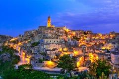 Matera, Базиликата, Италия: Благоустраивайте взгляд старого городка - нахальство стоковое фото rf