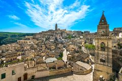 Matera ancient town i Sassi, Unesco site landmark. Basilicata, I. Matera ancient town i Sassi, Unesco world heritage site landmark. Basilicata, Italy, Europe Royalty Free Stock Image