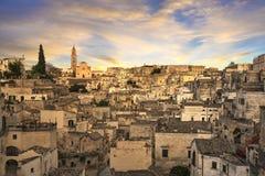 Matera antyczny miasteczko ja Sassi, Unesco miejsca punkt zwrotny Basilicata, Włochy fotografia stock
